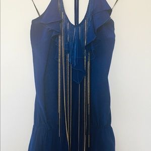 Cobalt blue romper with fringe and chains, size M